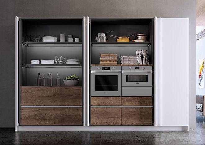 Hidden Appliances, Cement Floors, White Kitchen, Concrete Walls