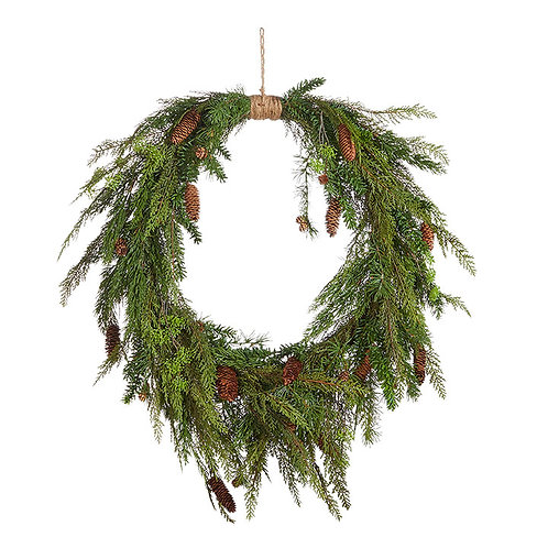 """Oval Wreath with Cedar and Pinecones 36"""""""