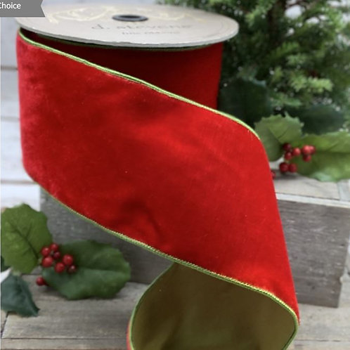 "Lush Velvet Chartreuse Two-Tone Taffeta Back Hot Red 1""x10yd"