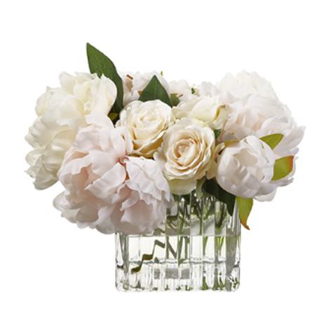 "Peony/Rose in Glass Vase 9"""