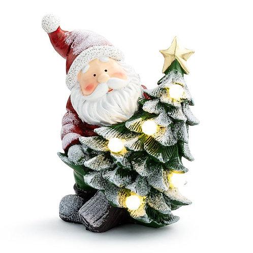 "LED Santa w/ Christmas Tree 9"", White"