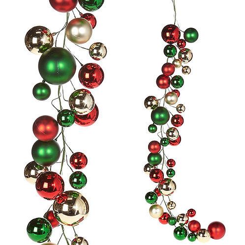 Red, Green, and Gold Ball Garland 4'
