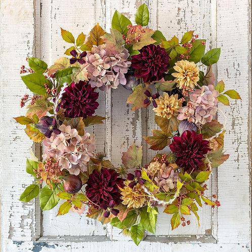 "Old Flower Market Botanical Wreath 28"""