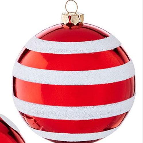 """Stripe Ball Ornament 4"""""""