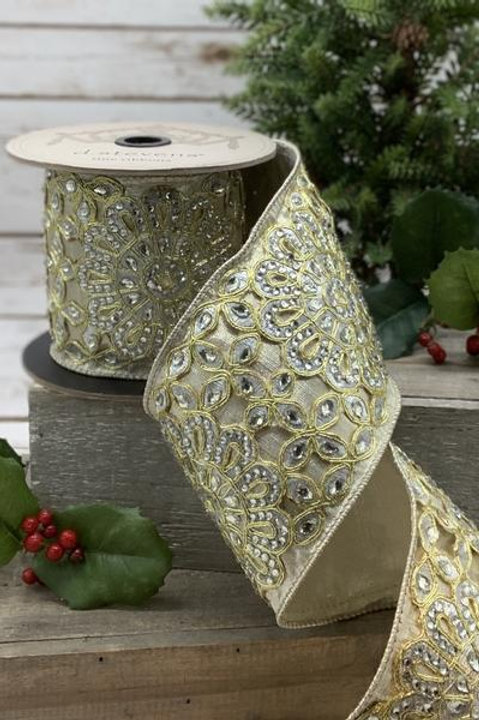 "Metallic Dupion Gold Medallion Trim with Jewels, 4""x5YDS"