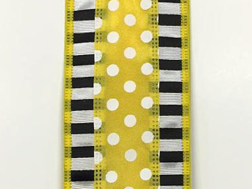 "Dashed Edge w/ Dots, Yellow 2.5""x10YDS"