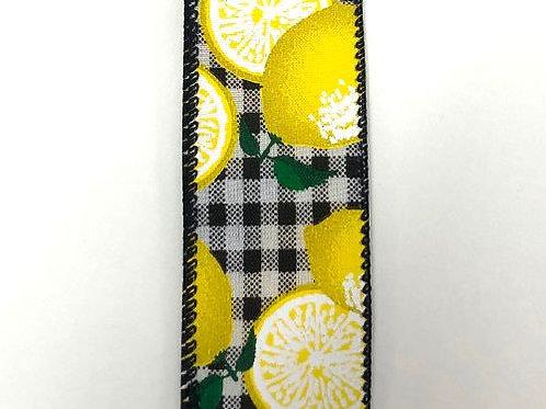 """Gingham Lemons, Black White 1.5""""x50YDS"""