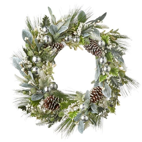 """Frosted Pinecone Wreath 30"""""""