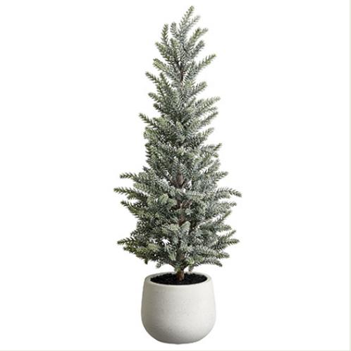 "Glittered Pine Tree in Terra Cotta Pot 22"""