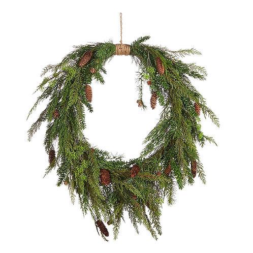"Oval Cedar and Pinecone Wreath 36"""