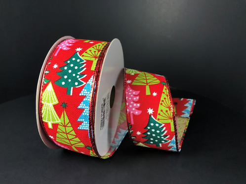 "LINEN RETRO CHRISTMAS TREE RED 1.5""x10YDS $11.90"
