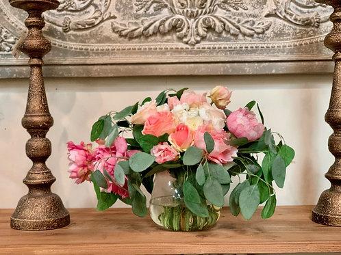 "Peony/ Rosemary in Glass Vase 15.5"""