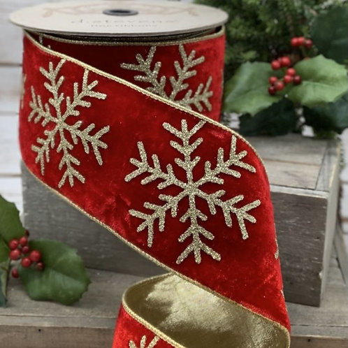 """Velvet Large Gold Glitter Snowflake Red 4""""x10yd"""