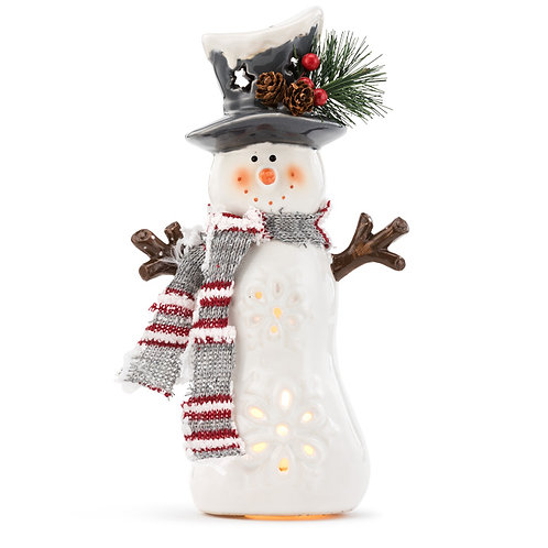 "Small Light Up Snowman 9.5"", White"