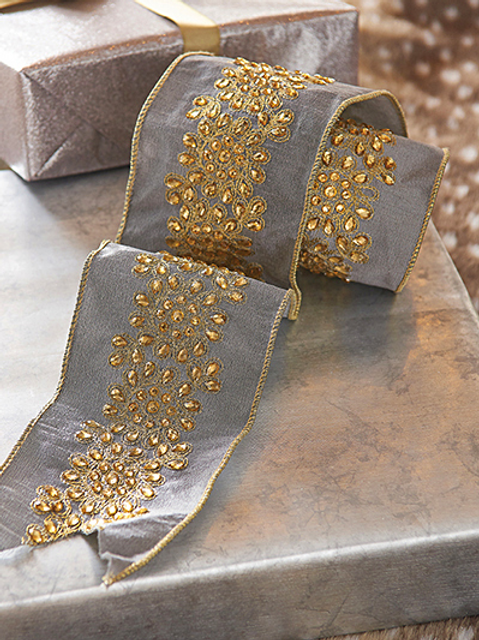 """Jeweled Grey and Gold Ribbon 4""""x5yd"""