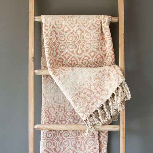 Vintage Printed Linen Throw, Faded Coral
