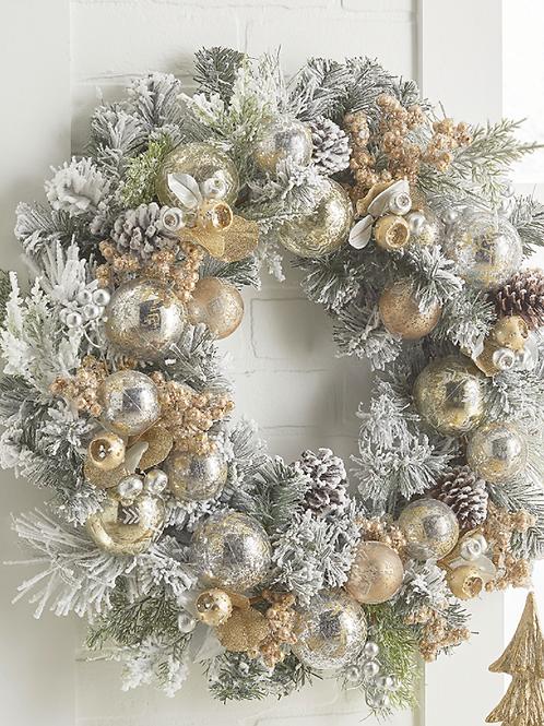 "Snowy Mixed Wreath 24"""