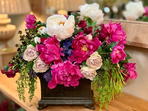 "Peony/Rose/Cornflower in Rectangular Planter 17""H"