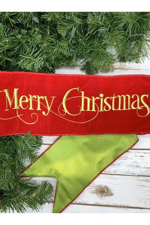 """Velvet Merry Christmas Banner, Hot Red/Green 6""""x70"""""""