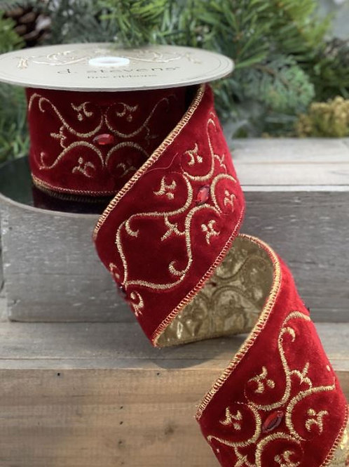 """Velvet Embroidered Vine with Jewels Gold-Dark Red 2.5""""x5yd"""