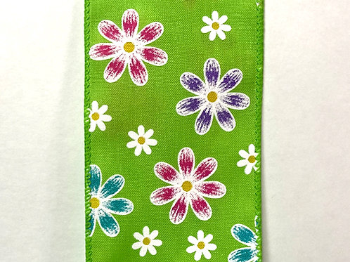 """Spring Daises, Lime 2.5""""x50YDS"""