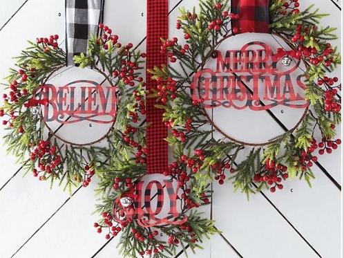 Believe Enameled Christmas Word Ornament ea not a set