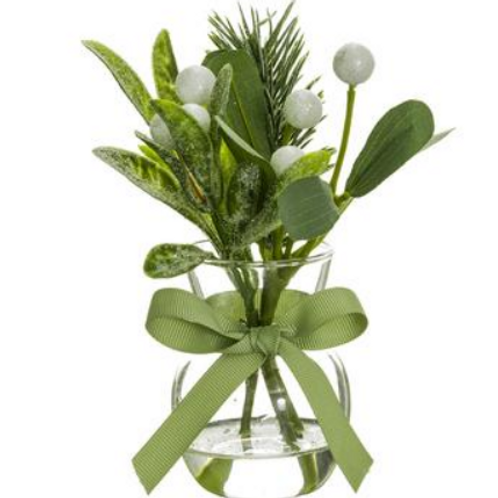 "Iced Mistletoe/Pine in Vase 6.5"""