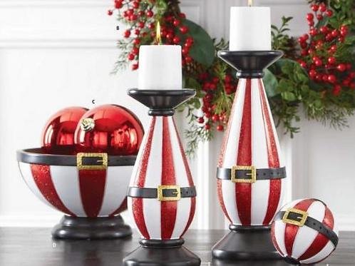 Glittered Santa Belt Candleholders Set of 2