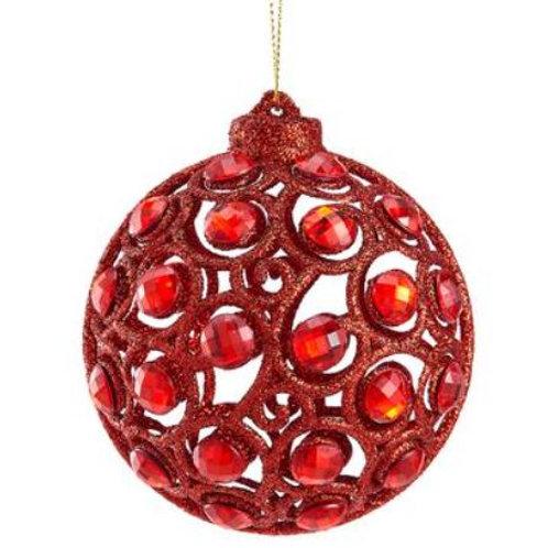 "Glittered Rhinestone Filigree Ball Ornament 3.2"", Red"