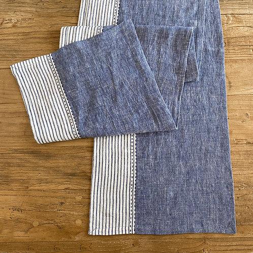 Linen Kitchen Table Runner, Blue S/2