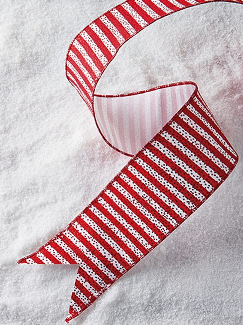 """Glitter Red and White Striped Wired Ribbon 4""""x10yd"""