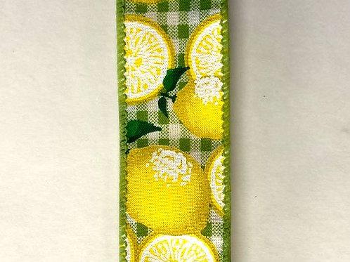 """Gingham Lemons, Green White 1.5""""x50YDS"""