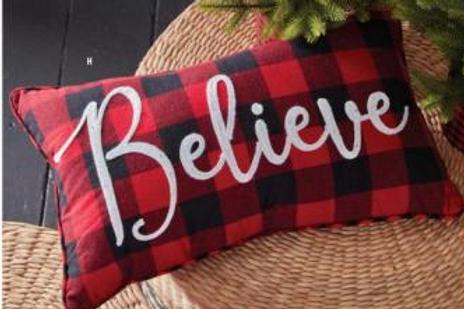 "Believe Buffalo Check Pillow 19.5"""