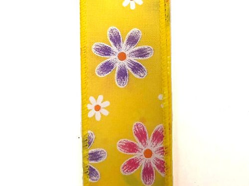 """Spring Daisies, Yellow 1.5""""x50YDS"""