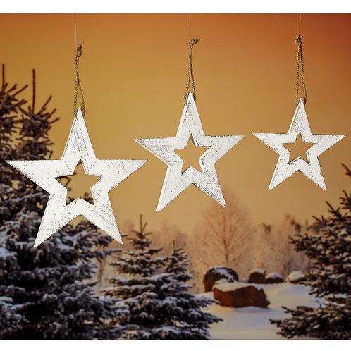 White Wash Star Ornament Set/3