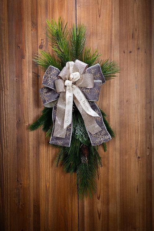 Grey Glitter Snowflake w/ Merry Christmas Bow