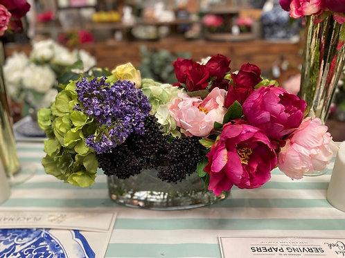"Rose Hydrangea/Peony in Glass Vase 14""H"