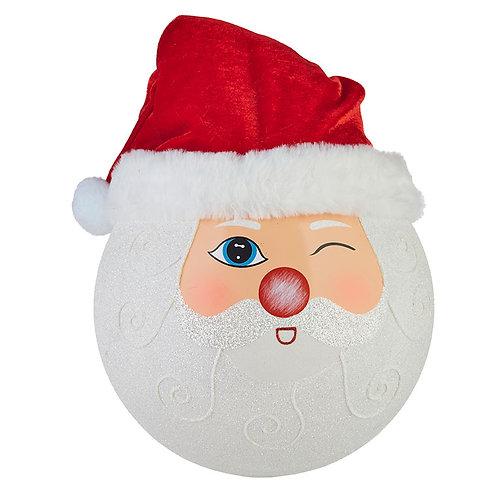 "Winking Santa Ball Ornament 12"""