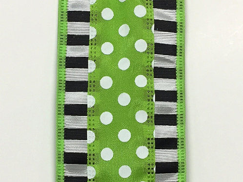 "Dashed Edge w/ Dots, Lime 2.5""x10YDS"
