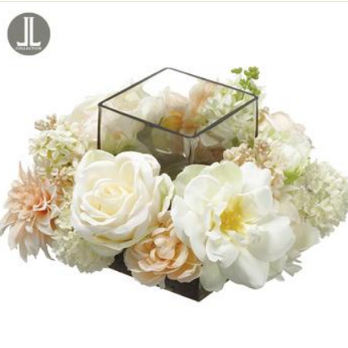 "Peony/Rose /Snowball Centerpiece With Glass Candleholder Cream Blush 6.25""H"