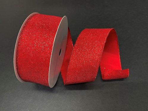 "RED GLITTERED SATIN 2.5""x50YDS $22.90"