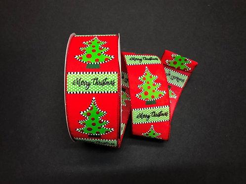 "CHRISTMAS TREE BLK-WHT DOTS 2.5""x50YDS $21.90"
