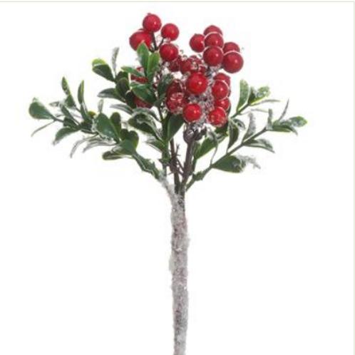 "Iced Berry/Boxwood Pick 8"""