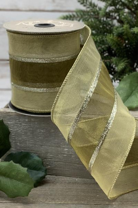 "Tissue Silk Glitter Stripe, Gold 4""x10YDS"