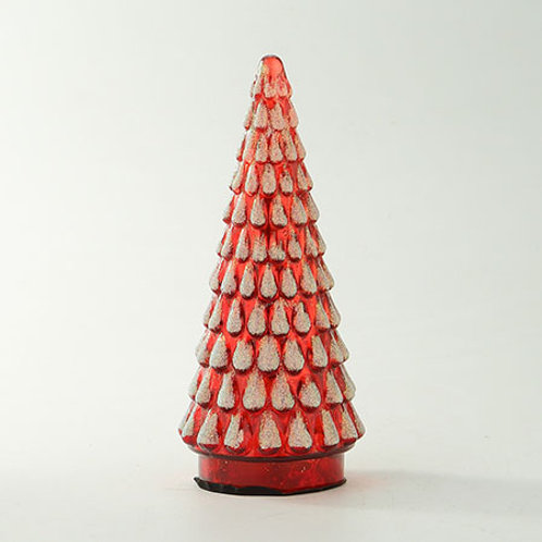 "Glass Textured Christmas Tree Red 8.5""H x 3.5""D"