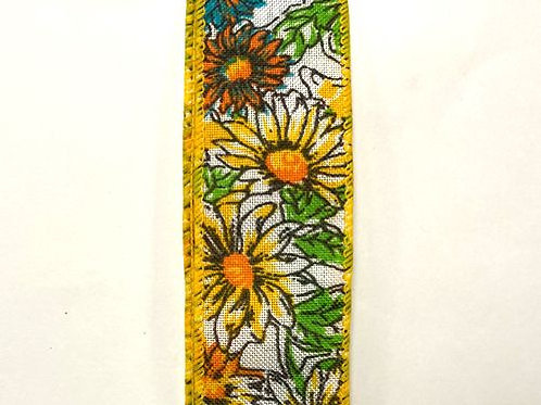 "Lined Daisies, Yellow 1.5""x50YDS"