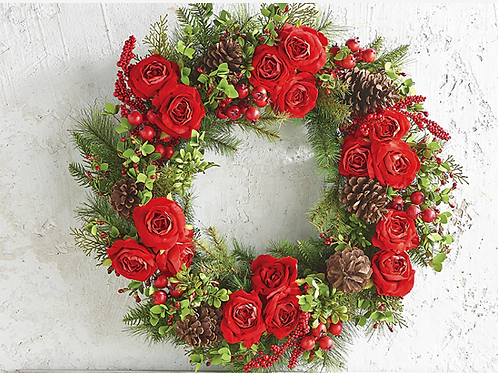 """Mixed Rose and Pine Wreath 26"""""""
