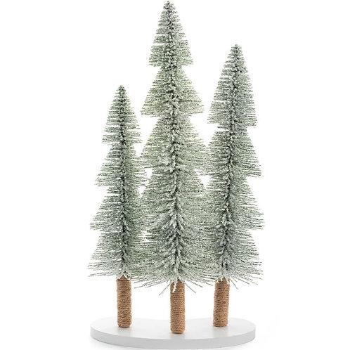 "Snowy Pine Trees x3 on Base 16"""