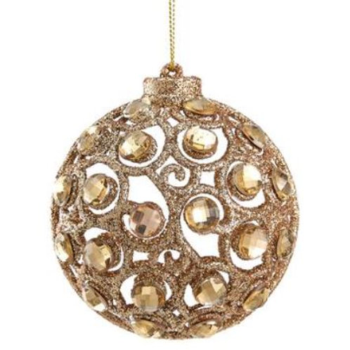 "Glittered Rhinestone Filigree Ball Ornament 3.2"", Gold"