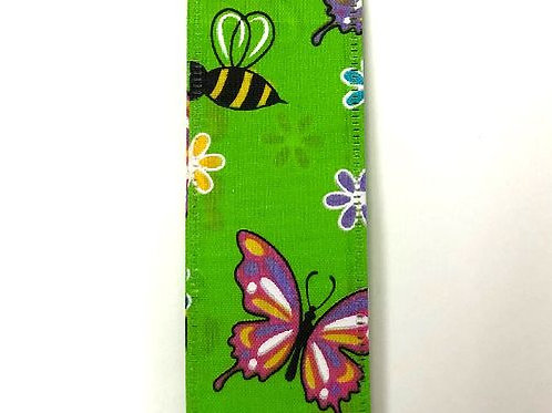"Butterflies and Bees, Lime 1.5""x50YDS"